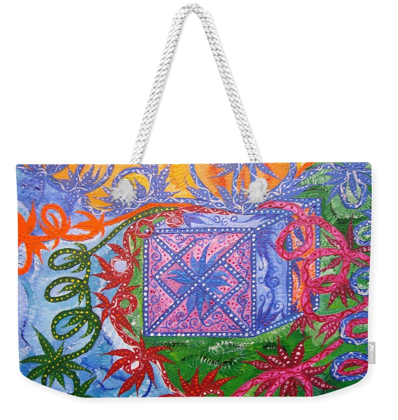 Symbol Weekender Tote Bag featuring the painting Gift by Joanna Pilatowicz