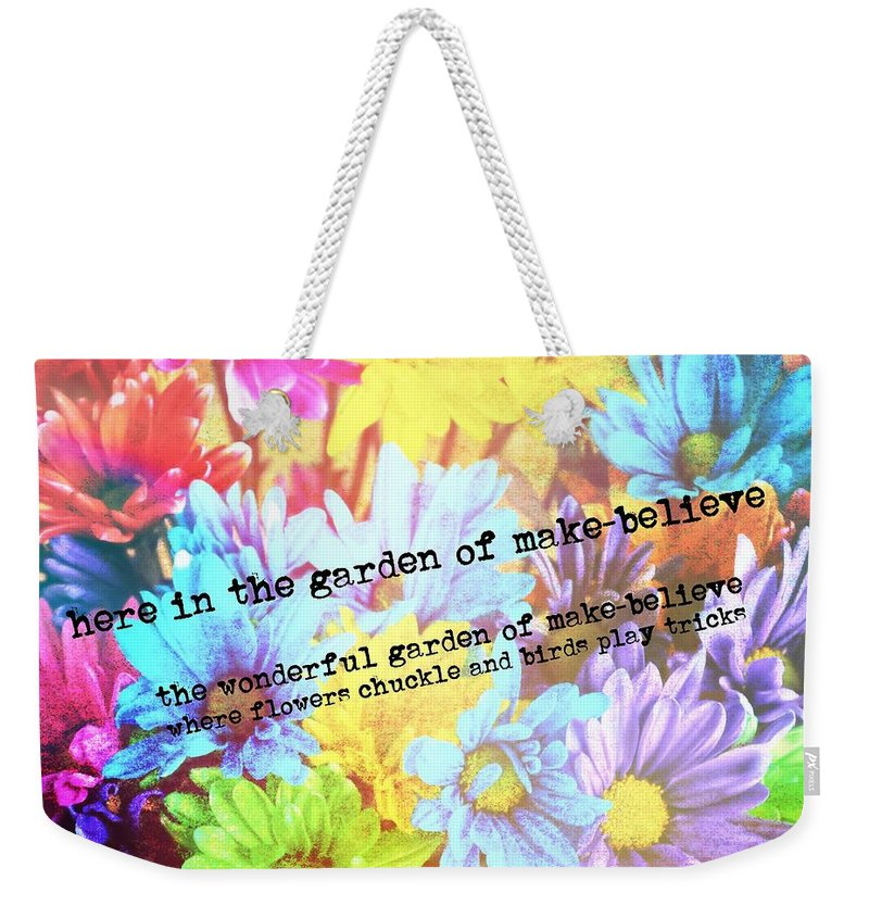 Giggle Weekender Tote Bag featuring the photograph Giggle Patch Quote by JAMART Photography