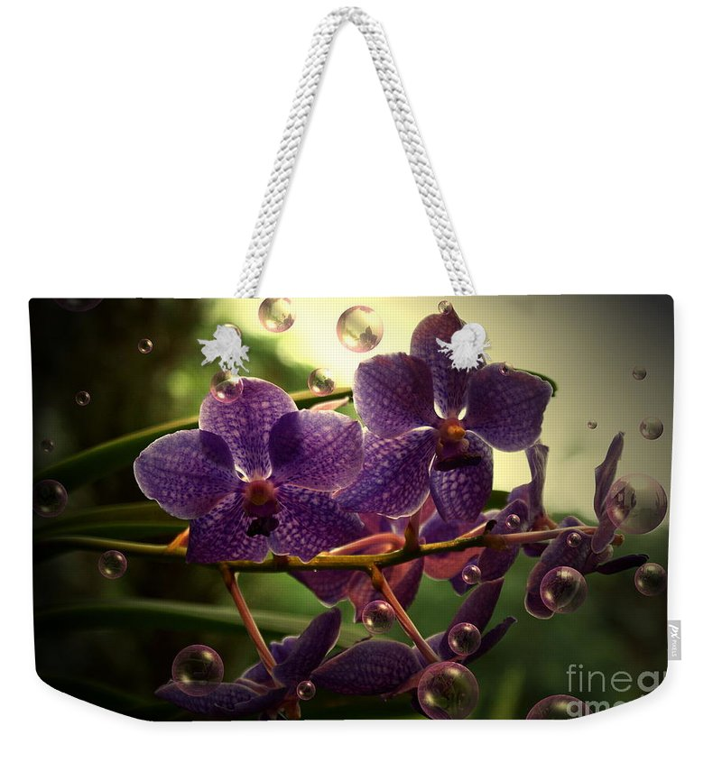 Orchid Bubbles Floral Weekender Tote Bag featuring the photograph Giggles by Joanne Smoley