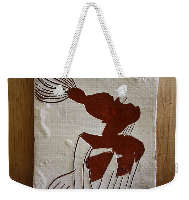 Jesus Weekender Tote Bag featuring the ceramic art Gigi - Tile by Gloria Ssali
