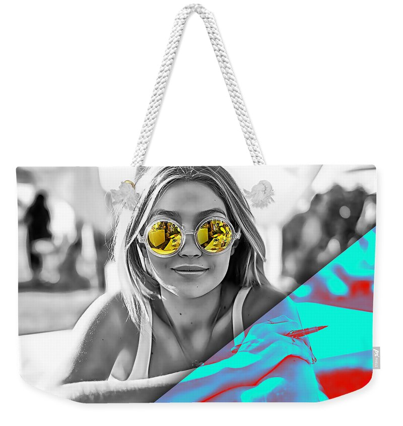 Gigi Hadid Weekender Tote Bag featuring the mixed media Gigi Hadid Collection by Marvin Blaine
