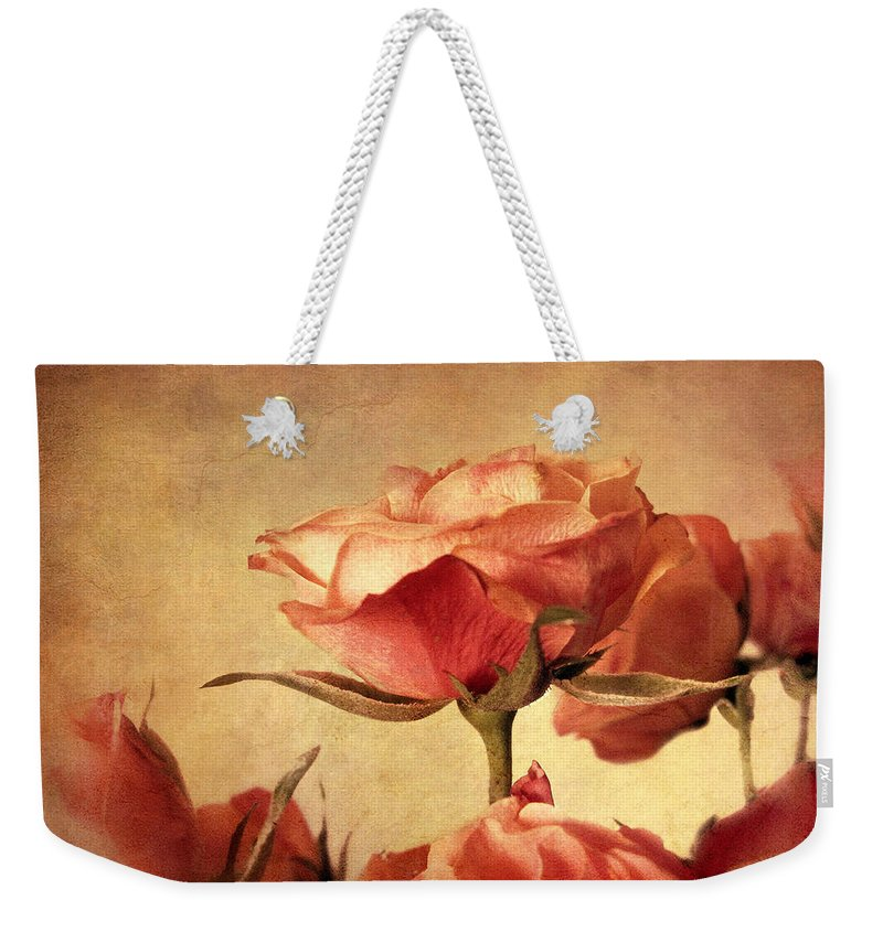 Flowers Weekender Tote Bag featuring the photograph Gilded Roses by Jessica Jenney