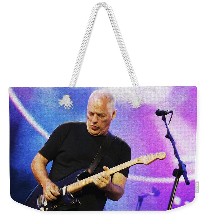 David Gilmour Weekender Tote Bag featuring the painting Gilmour Maroon Nixo by Never Say Never