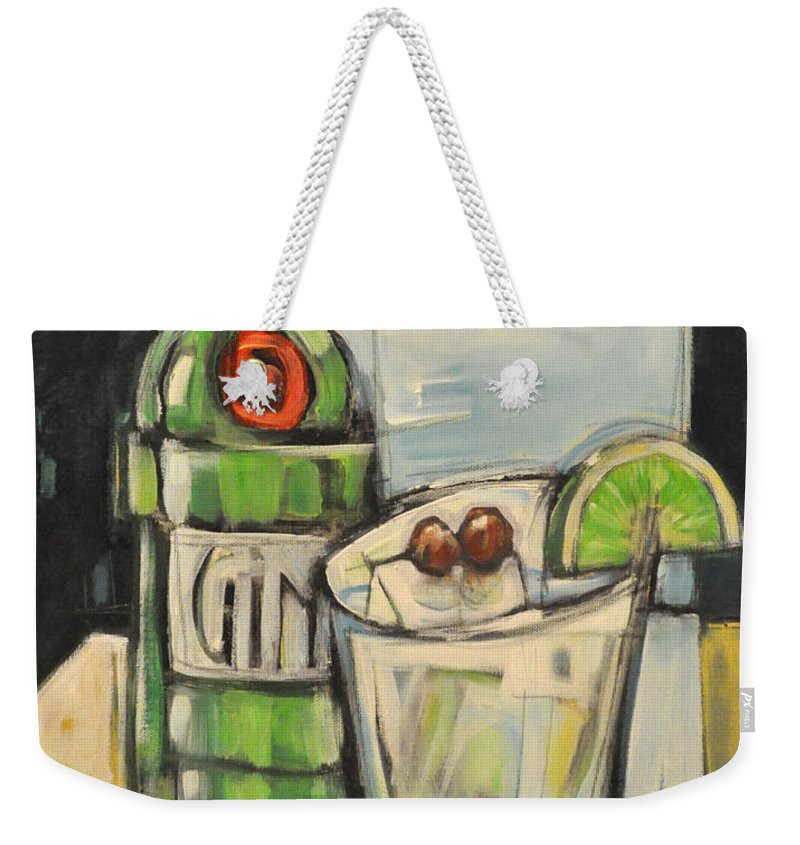 Gin Weekender Tote Bag featuring the painting Gin Gimlet by Tim Nyberg