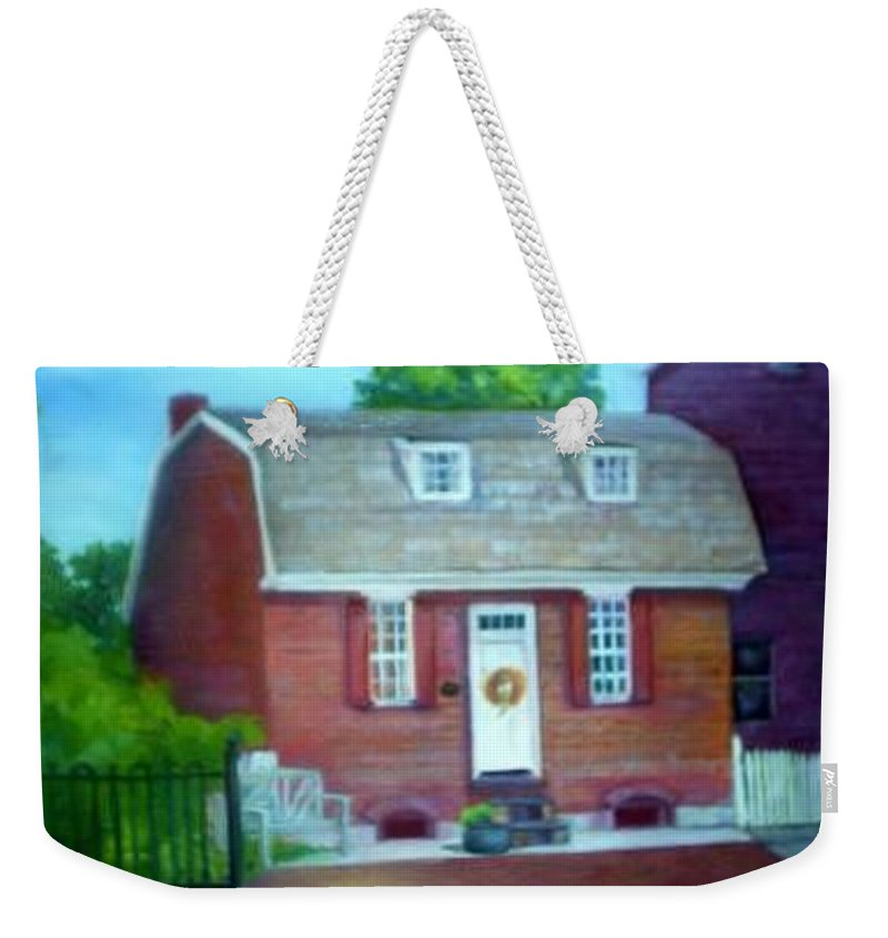Revell House Weekender Tote Bag featuring the painting Gingerbread House by Sheila Mashaw
