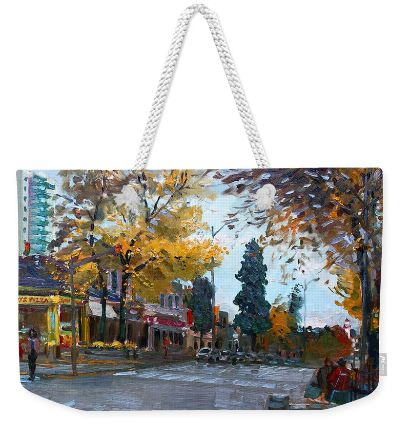 Weekender Tote Bag featuring the painting Gino S Pizza Lake Shore by Ylli Haruni