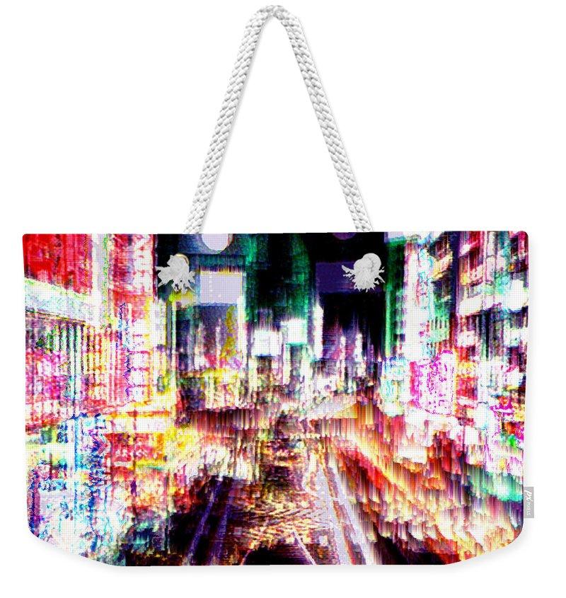 Tokyo Weekender Tote Bag featuring the digital art Ginsa Glitz by Seth Weaver