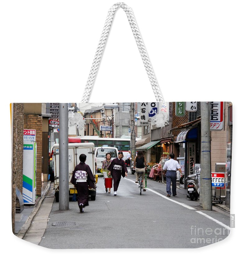 Kyoto Weekender Tote Bag featuring the photograph Gion District Street Scene Kyoto Japan by Thomas Marchessault