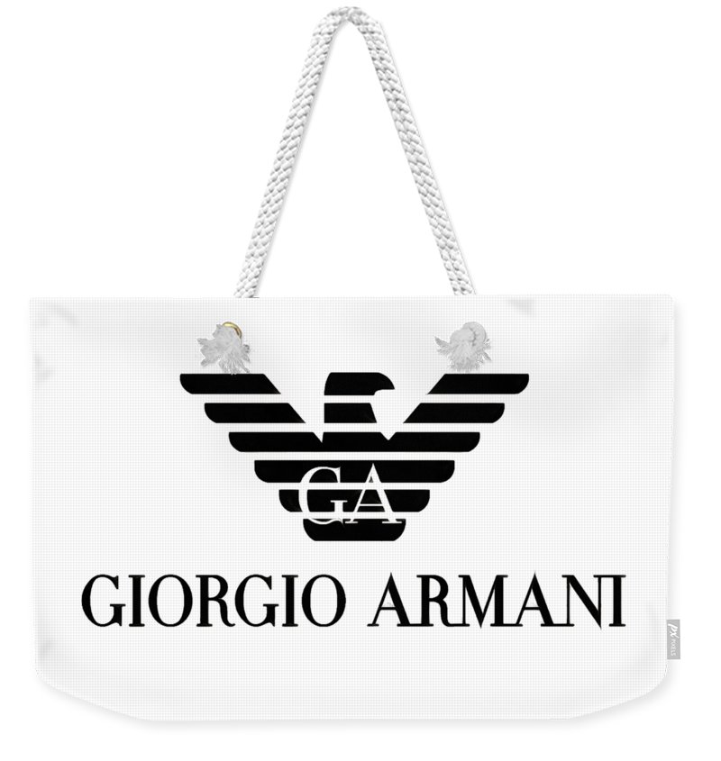 5685e39fe5c7 Armani Weekender Tote Bag featuring the digital art Giorgio Armani Eagle  Logo by Traxex Gringer
