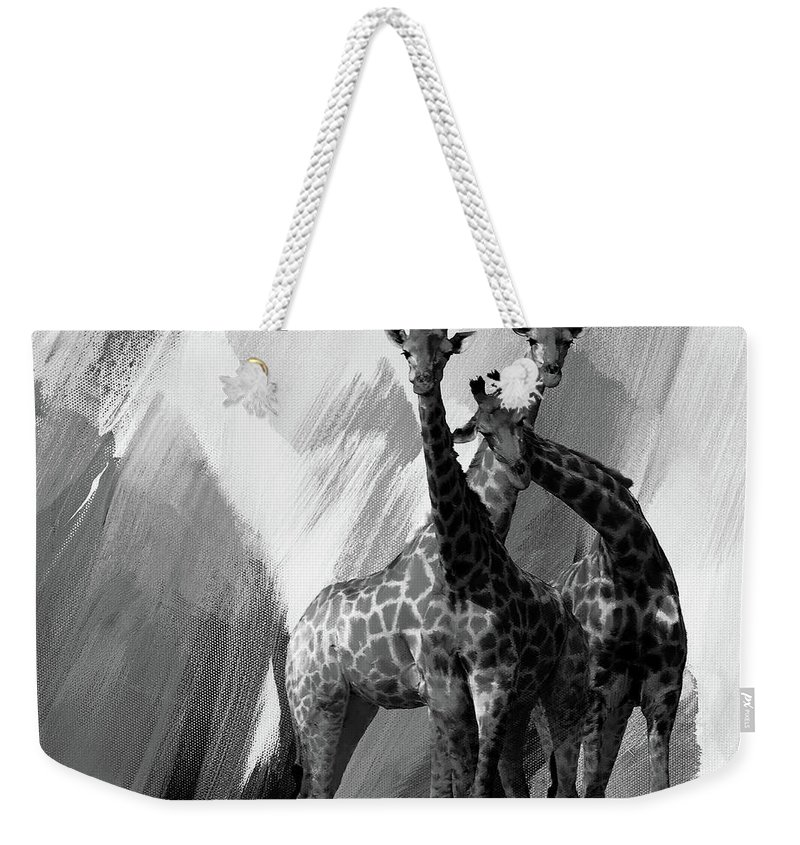 Giraffe Weekender Tote Bag featuring the painting Giraffe Abstract Art Black And White by Gull G