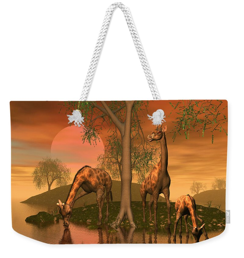 Animals Weekender Tote Bag featuring the digital art Giraffe Family By John Junek by John Junek