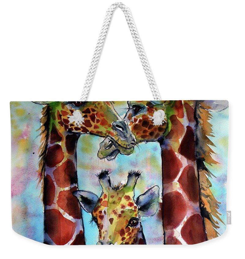 Giraffe Weekender Tote Bag featuring the painting Giraffe Family by Kovacs Anna Brigitta