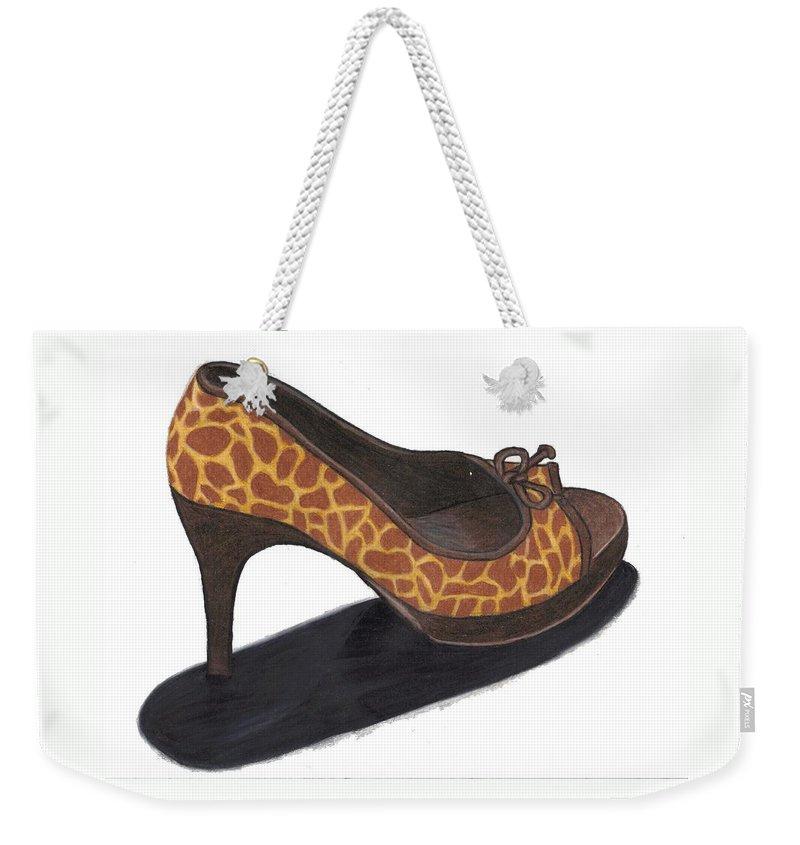 Shoe Weekender Tote Bag featuring the drawing Giraffe Heels by Jean Haynes