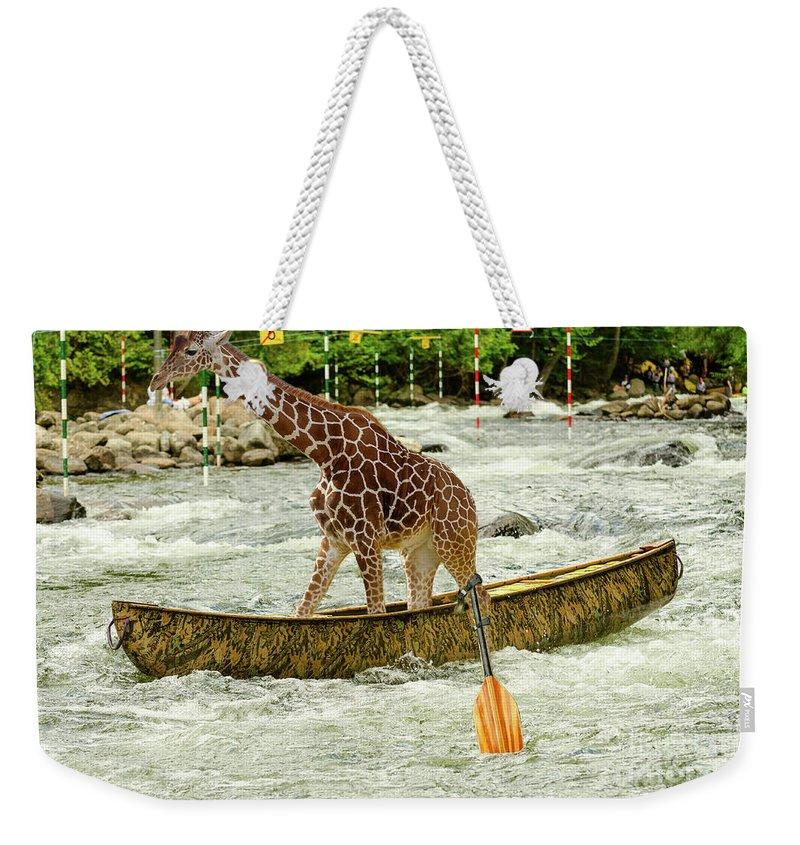 Giraffe Paddling A Whitewater Canoe Weekender Tote Bag