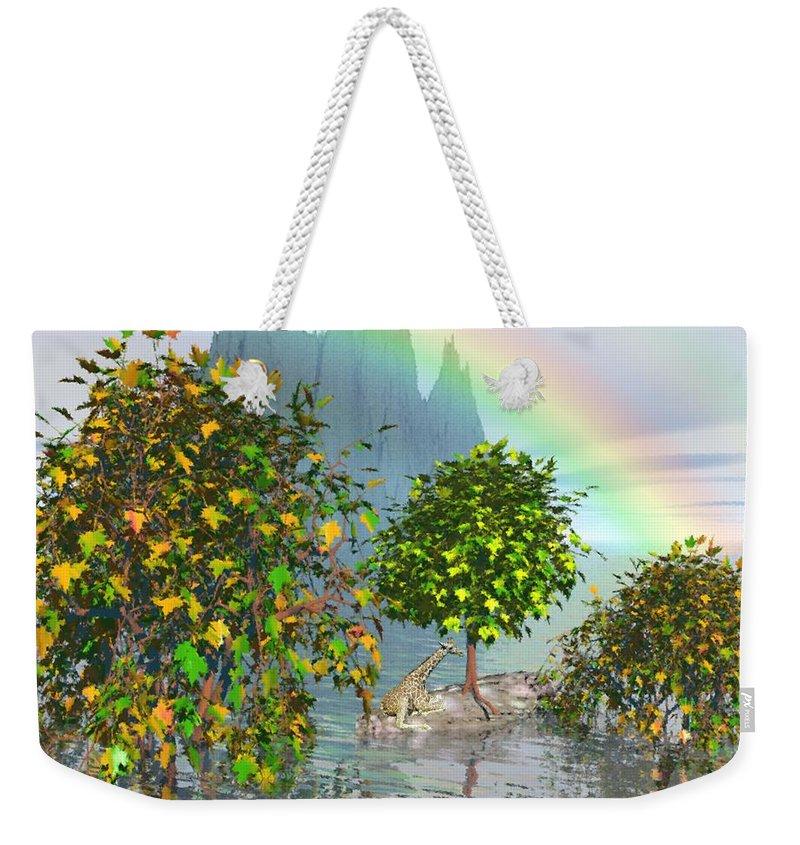 Giraffe Weekender Tote Bag featuring the painting Giraffe Rainbow Heaven by Susanna Katherine