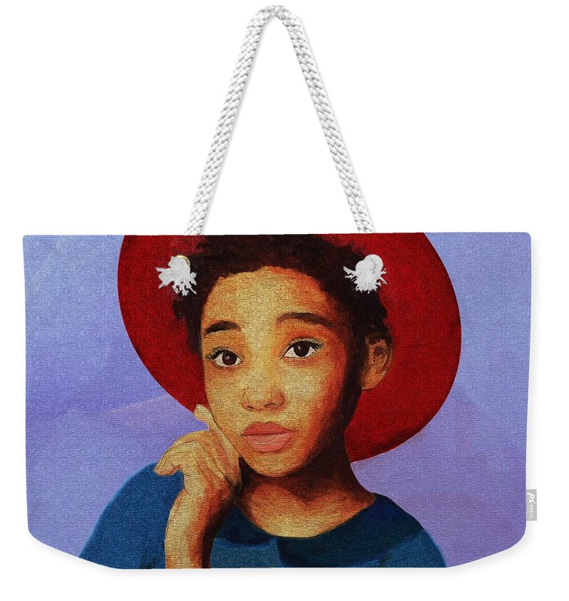 Portrait Weekender Tote Bag featuring the painting Girl 1 by Tafadzwa Ziona