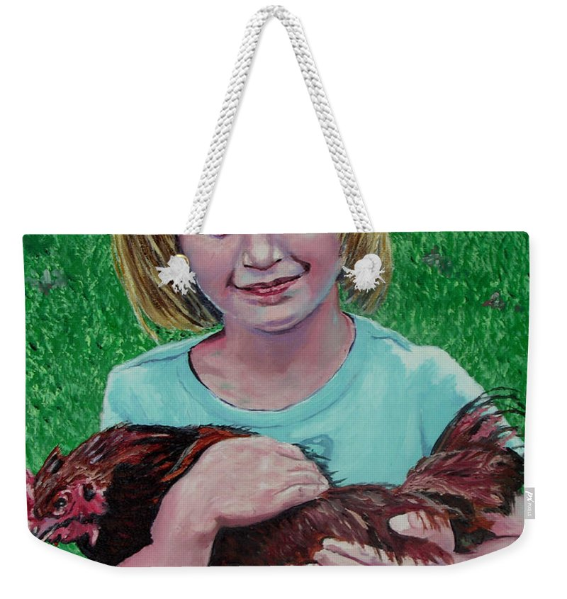 Portrait Weekender Tote Bag featuring the painting Girl And Chicken by Stan Hamilton