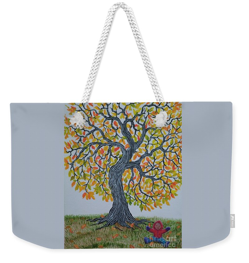 Girl Weekender Tote Bag featuring the painting Girl And Leafs by Nick Gustafson