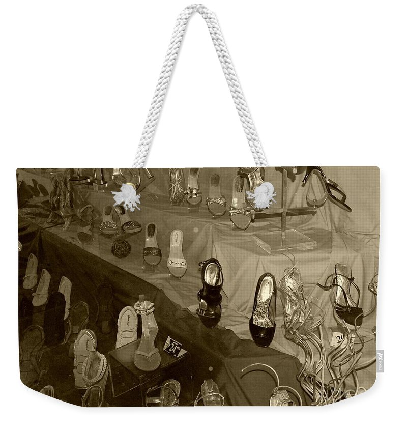 Shoes Weekender Tote Bag featuring the photograph Girl Cant Have Enough Shoes by Debbi Granruth