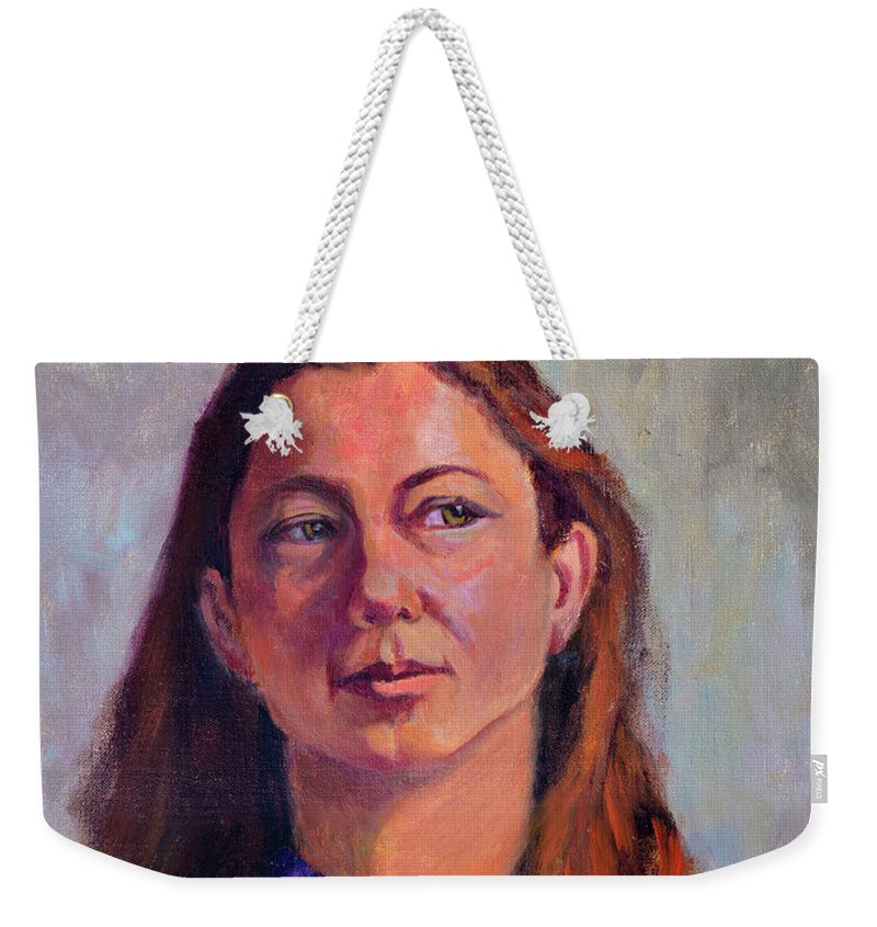 Portrait Weekender Tote Bag featuring the painting Girl In Purple by Keith Burgess