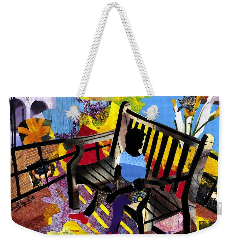 Everett Spruill Weekender Tote Bag featuring the painting Girl In Red Shoes by Everett Spruill