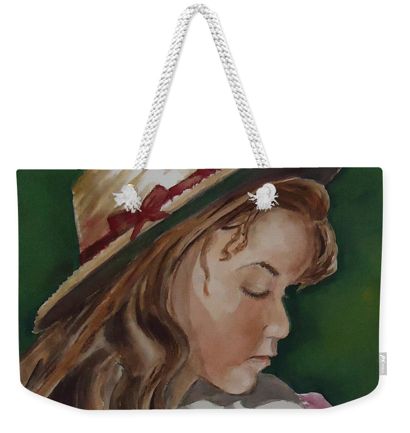Girl Weekender Tote Bag featuring the painting Girl In Ribboned Straw Hat by Charme Curtin