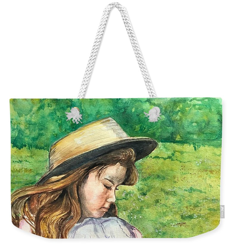 Little Girl Weekender Tote Bag featuring the painting Girl In Straw Hat by Charme Curtin