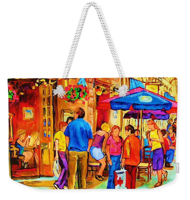 Montreal Cafe Scenes Weekender Tote Bag featuring the painting Girl In The Cafe by Carole Spandau