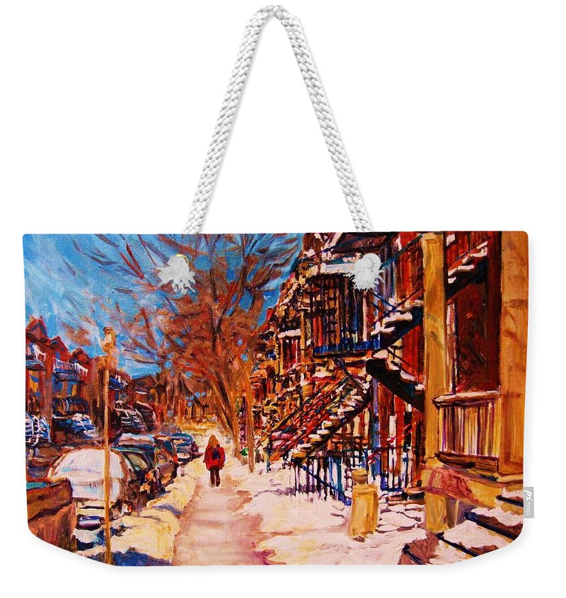 Children Weekender Tote Bag featuring the painting Girl In The Red Jacket by Carole Spandau
