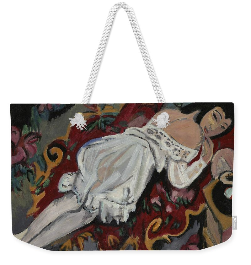 German Painters Weekender Tote Bag featuring the painting Girl In White Chemise by Ernst Ludwig Kirchner