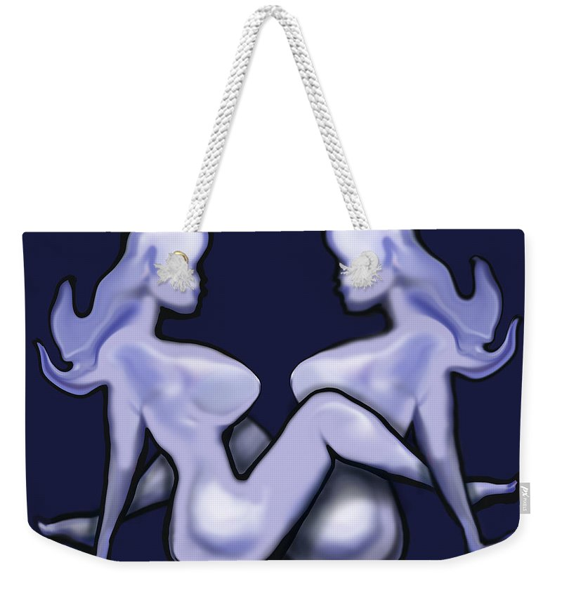 Mudflap Weekender Tote Bag featuring the painting Girl On Girl Action by Kevin Middleton