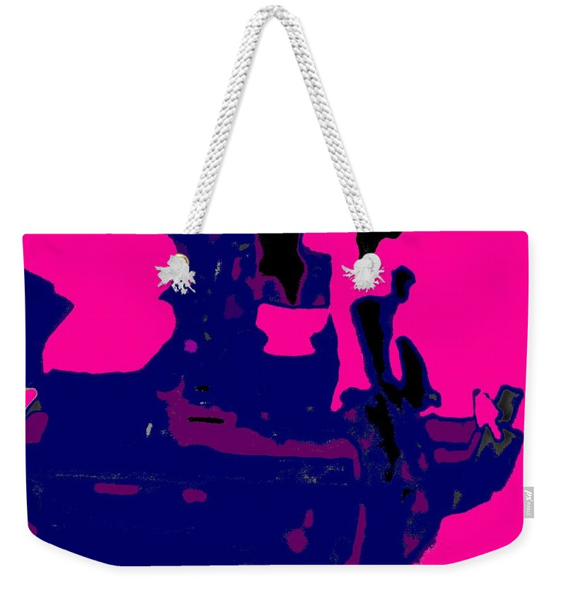 Girl Weekender Tote Bag featuring the photograph Girl Passing Coconut Vendor Reading by Ian MacDonald