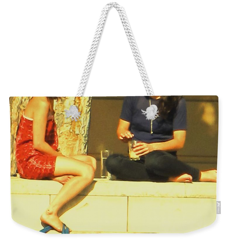 Girl Weekender Tote Bag featuring the photograph Girl Talk by Ian MacDonald