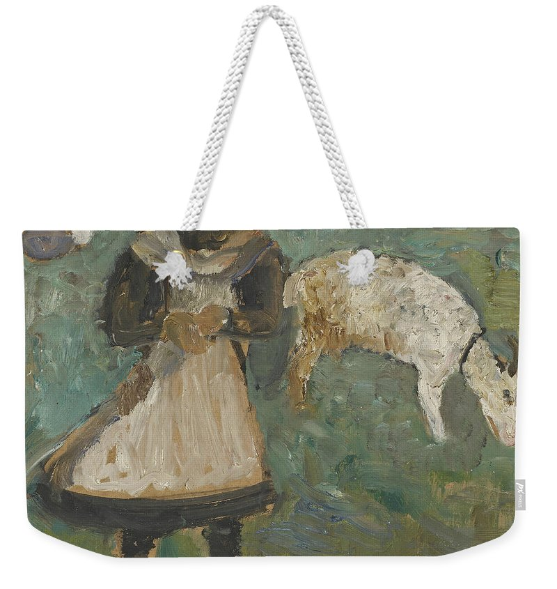 German Painters Weekender Tote Bag featuring the painting Girl With A Goat by Paula Modersohn-Becker