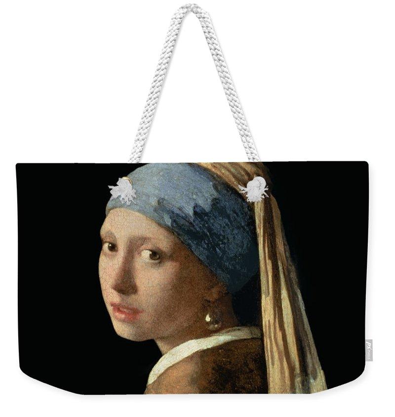 Jan Vermeer Weekender Tote Bag featuring the painting Girl with a Pearl Earring by Jan Vermeer