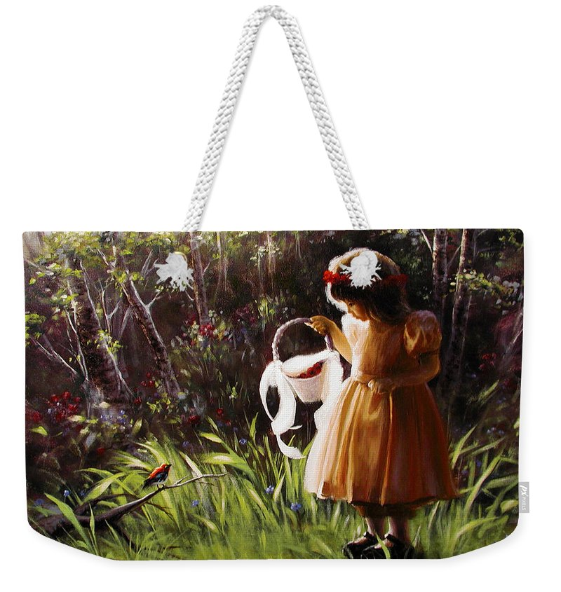 Weekender Tote Bag featuring the painting Girl With Basket Of Roses by Stephen Lucas