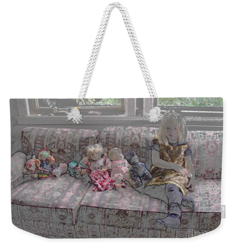 Girl Weekender Tote Bag featuring the digital art Girl With Dolls by Ron Bissett