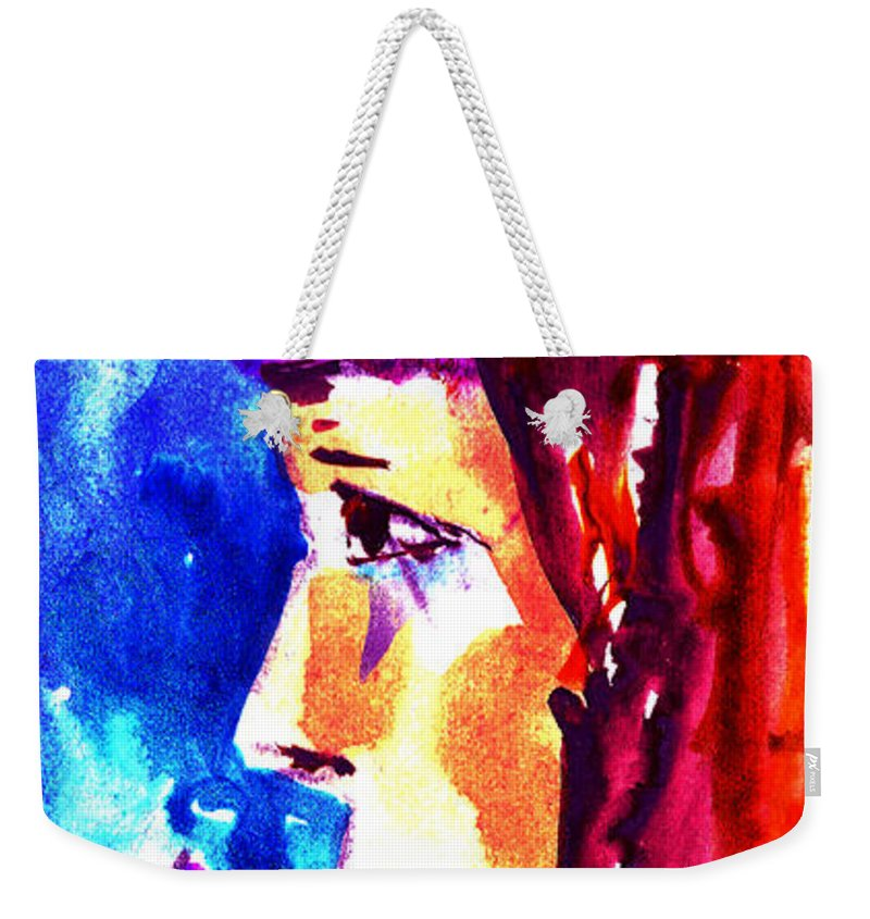 Girl With Flowers Weekender Tote Bag featuring the painting Girl With Flowers by Cuiava Laurentiu