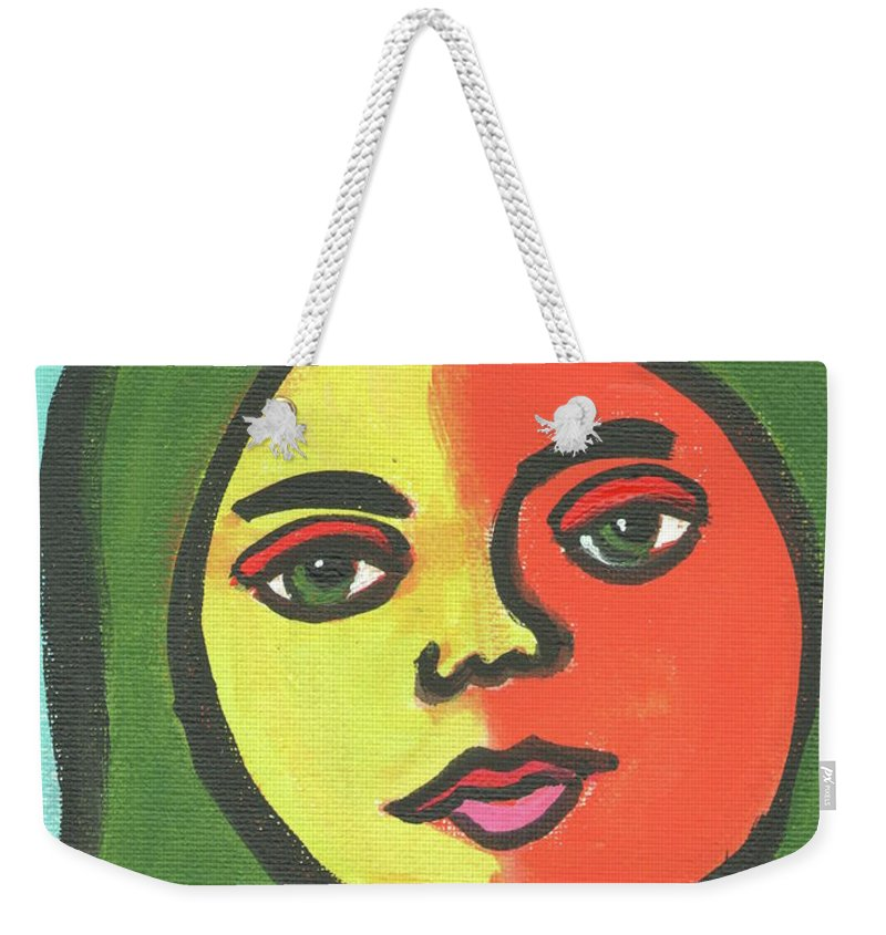 Girl Weekender Tote Bag featuring the painting Girl With Necklace by Daniel Grant
