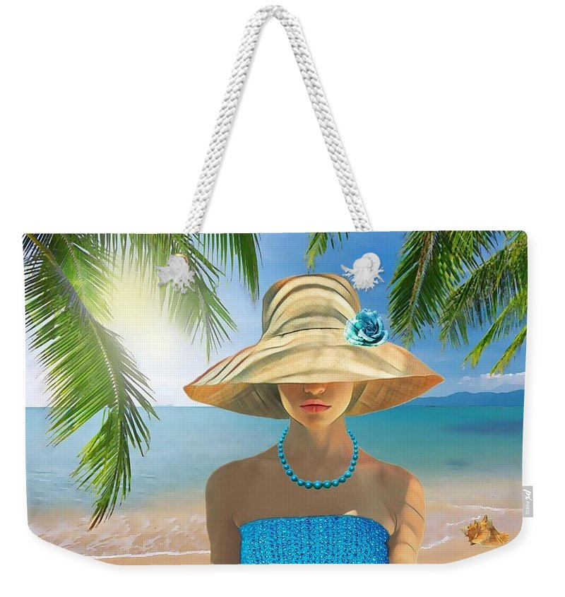 Girl Weekender Tote Bag featuring the digital art Girl With Summer Hat by Mirna Milostic