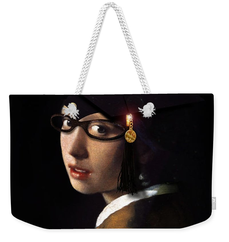 Vermeer Weekender Tote Bag featuring the painting Girl With The Grad Cap by Gravityx9 Designs