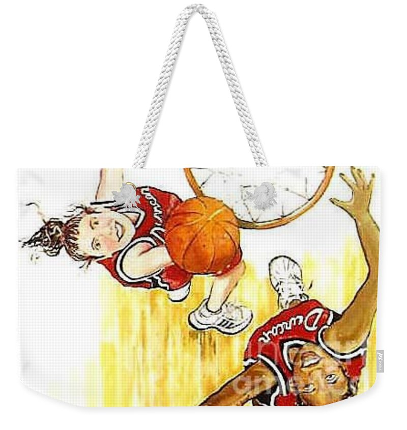 Girls Weekender Tote Bag featuring the painting Girl's Basketball by Linda Shackelford