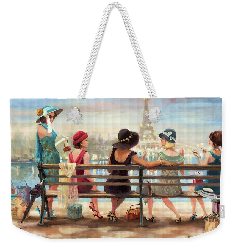 Paris Weekender Tote Bag featuring the painting Girls Day Out by Steve Henderson