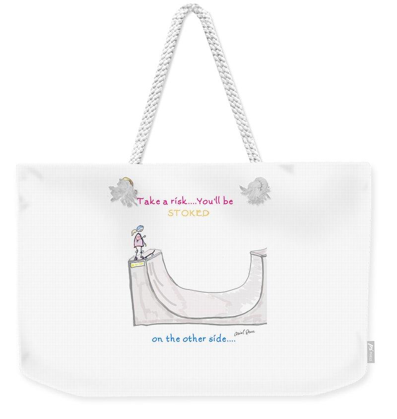 Take A Risk Weekender Tote Bag featuring the digital art Girls Skate Vert by Arial Starr