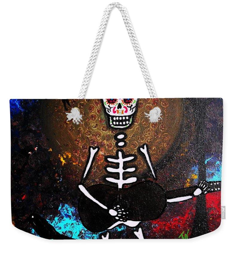 Dia Weekender Tote Bag featuring the painting Gitarero by Pristine Cartera Turkus