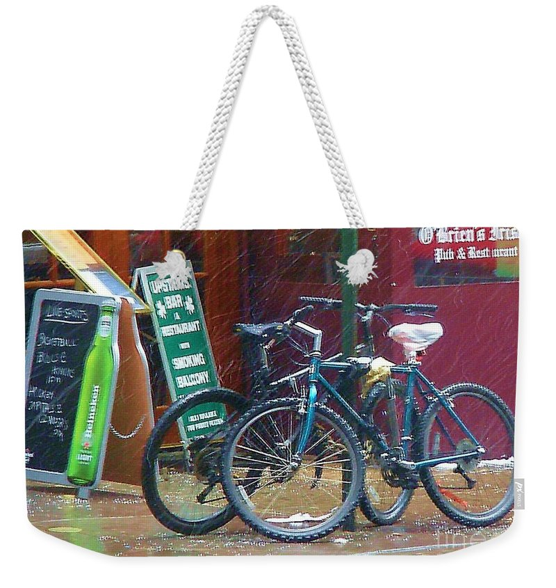Bike Weekender Tote Bag featuring the photograph Give Me Shelter by Debbi Granruth