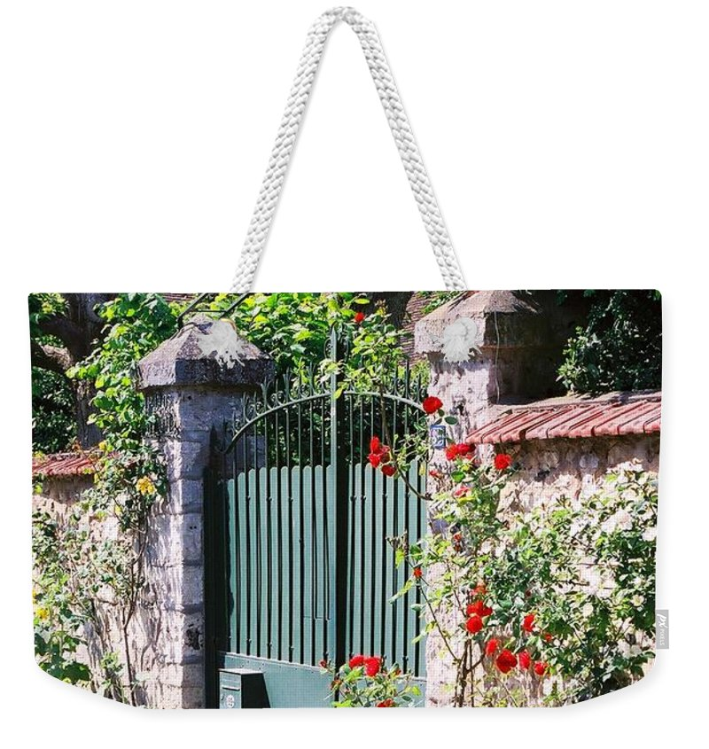 Giverny Weekender Tote Bag featuring the photograph Giverny Gate by Nadine Rippelmeyer