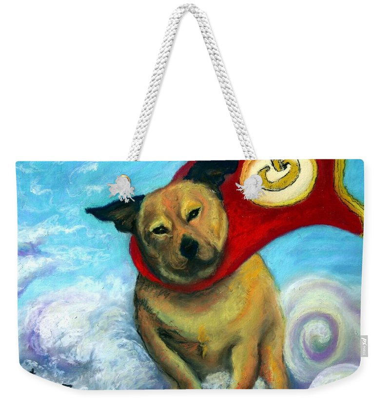 Dog Weekender Tote Bag featuring the painting Gizmo The Great by Minaz Jantz