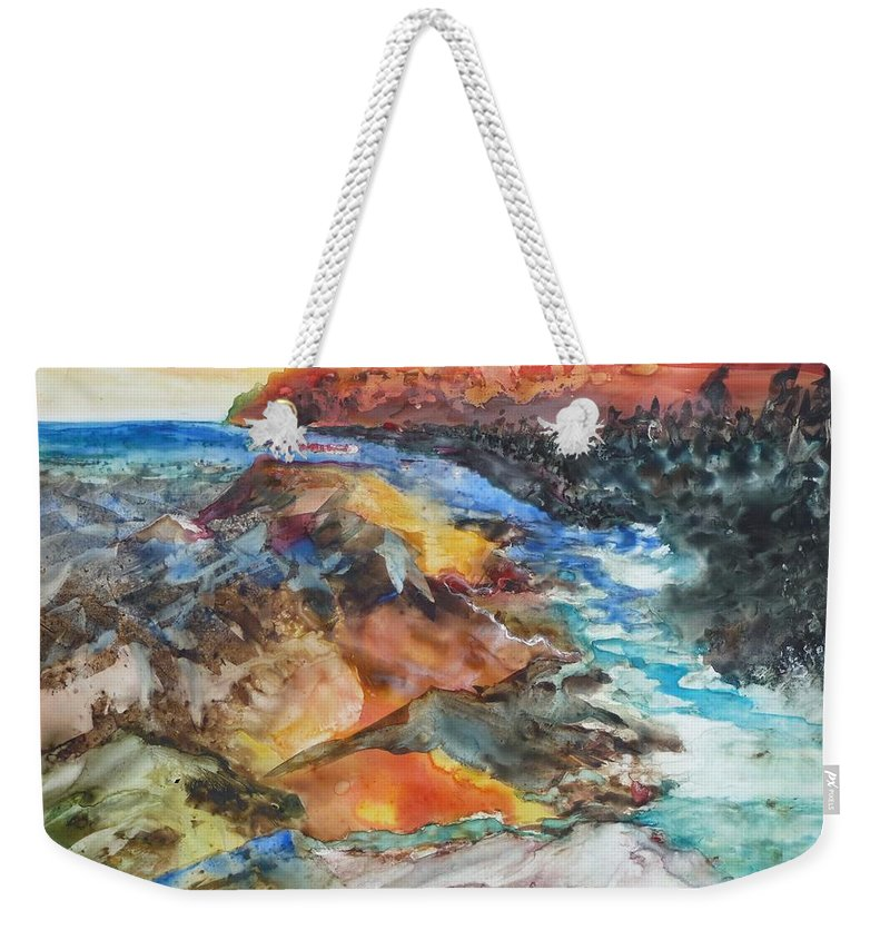 Abstract Weekender Tote Bag featuring the painting Glacial Meltdown by Ruth Kamenev