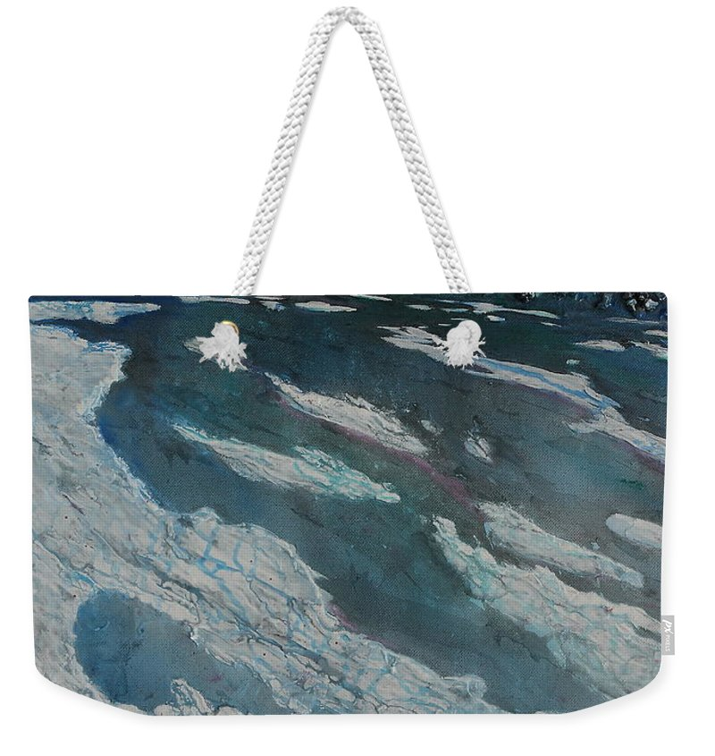Ice Weekender Tote Bag featuring the painting Glacial Moraine by Ruth Kamenev